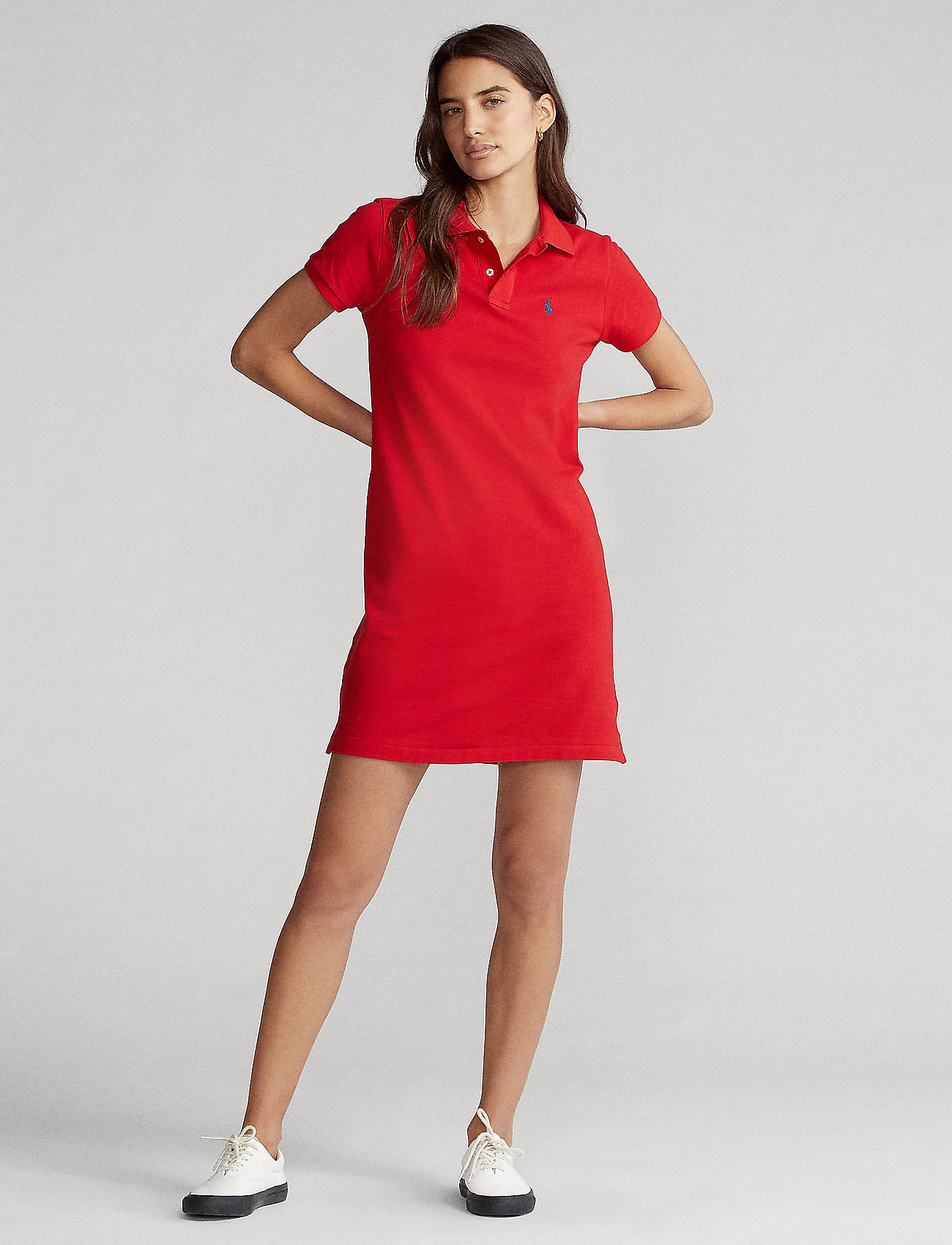 Polo Ralph Lauren - Cotton Polo Dress - hverdagskjoler - rl 2000 red/c7998 - 0