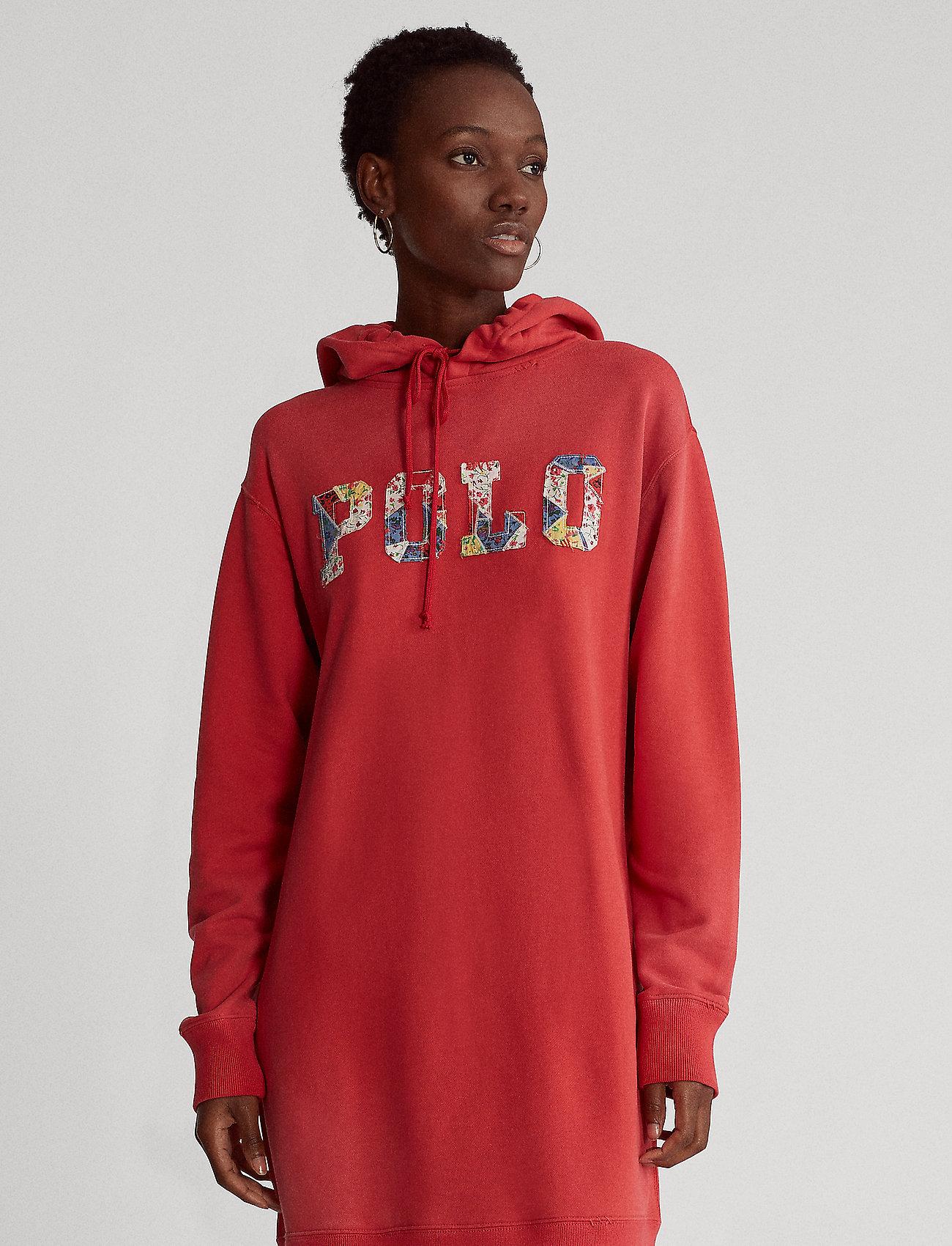 Polo Ralph Lauren - Fleece Hoodie Dress - midi dresses - starboard red - 0