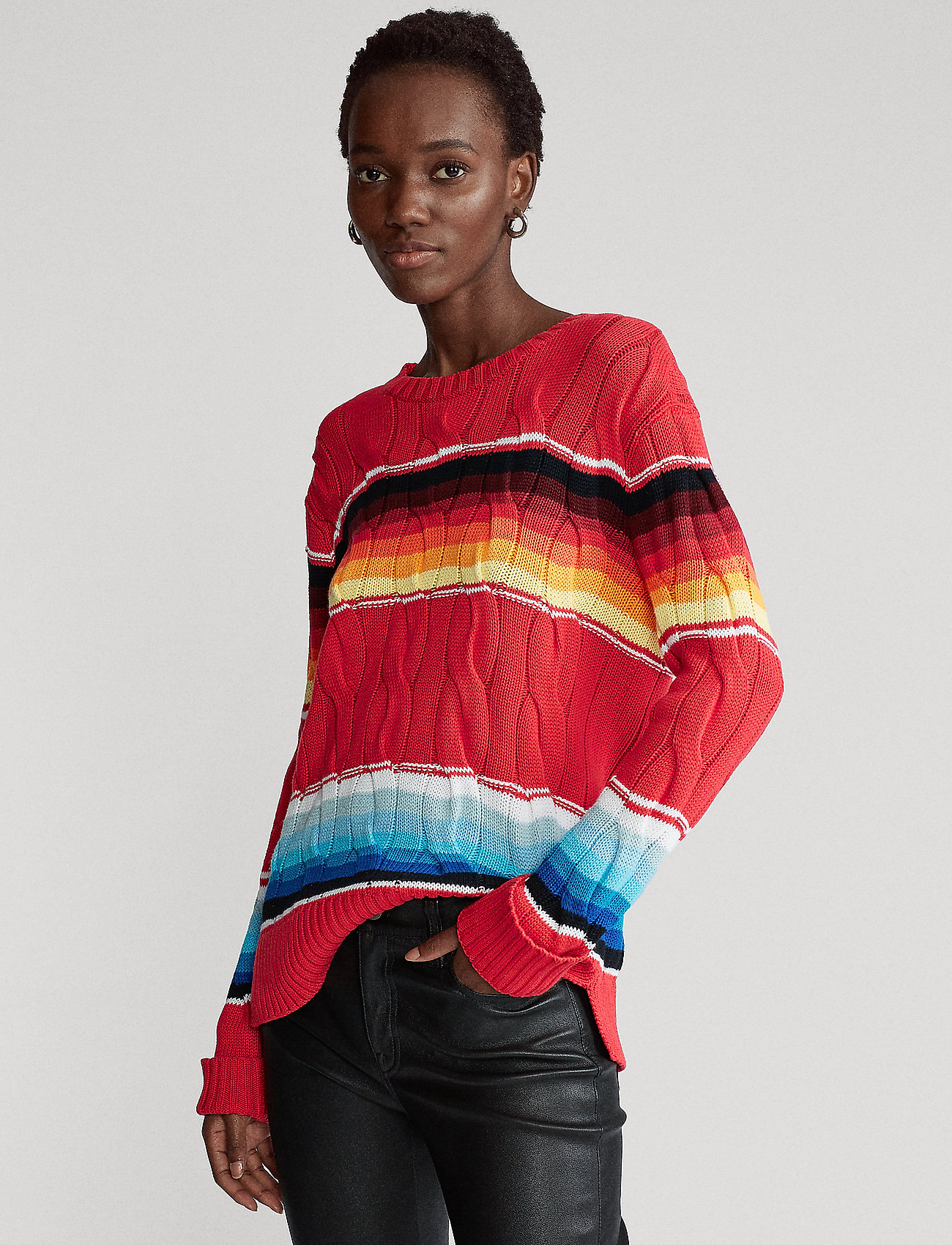 Polo Ralph Lauren - Striped Cable-Knit Sweater - jumpers - serape - 0
