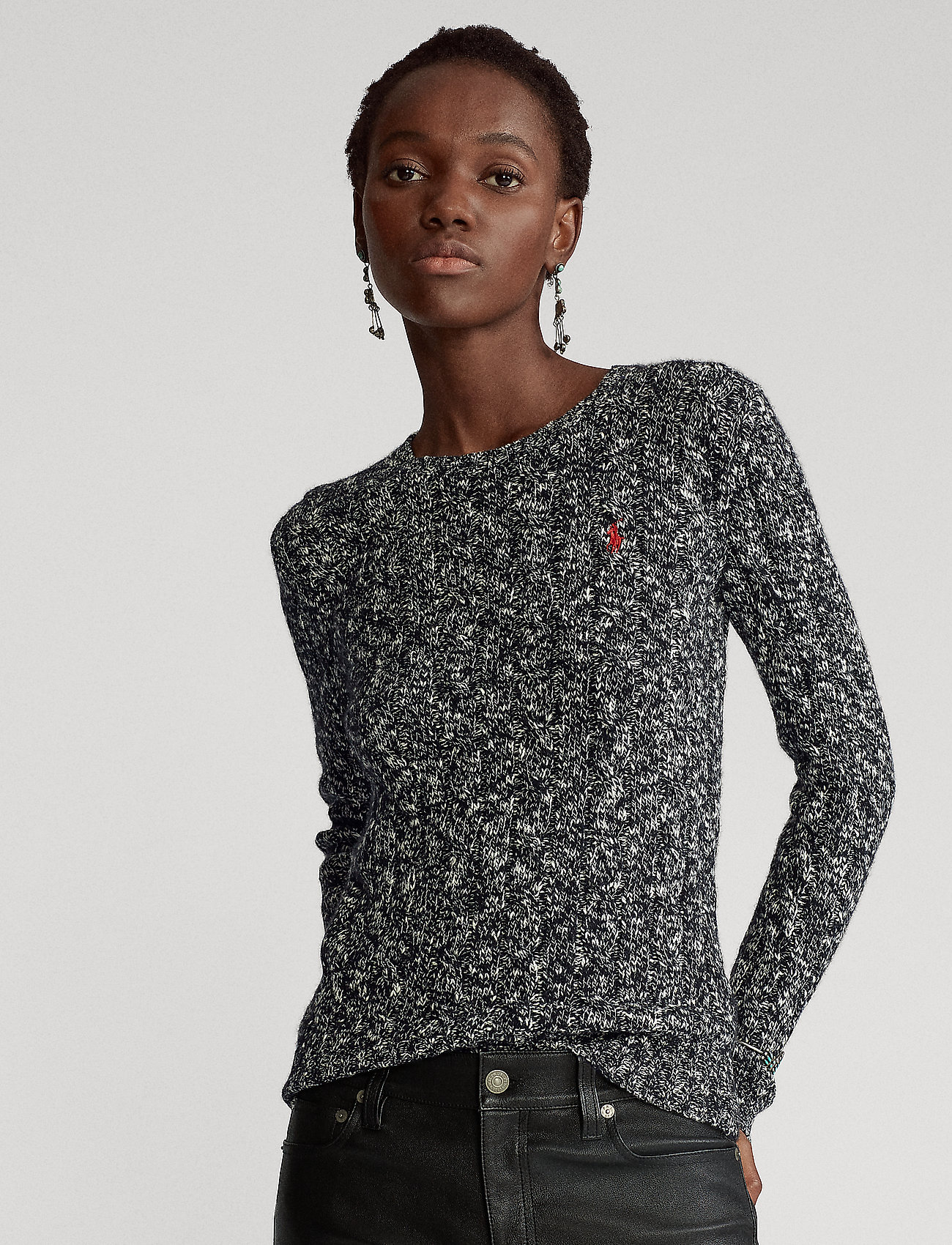 Polo Ralph Lauren - Cable-Knit Wool-Blend Sweater - jumpers - black/cream ragg - 0