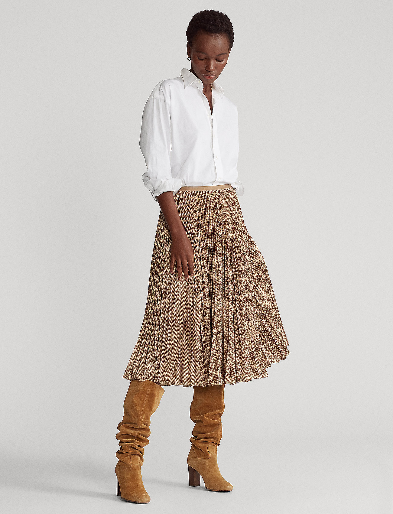 Polo Ralph Lauren - Houndstooth Pleated Skirt - midi skirts - brown/tan houndst - 0