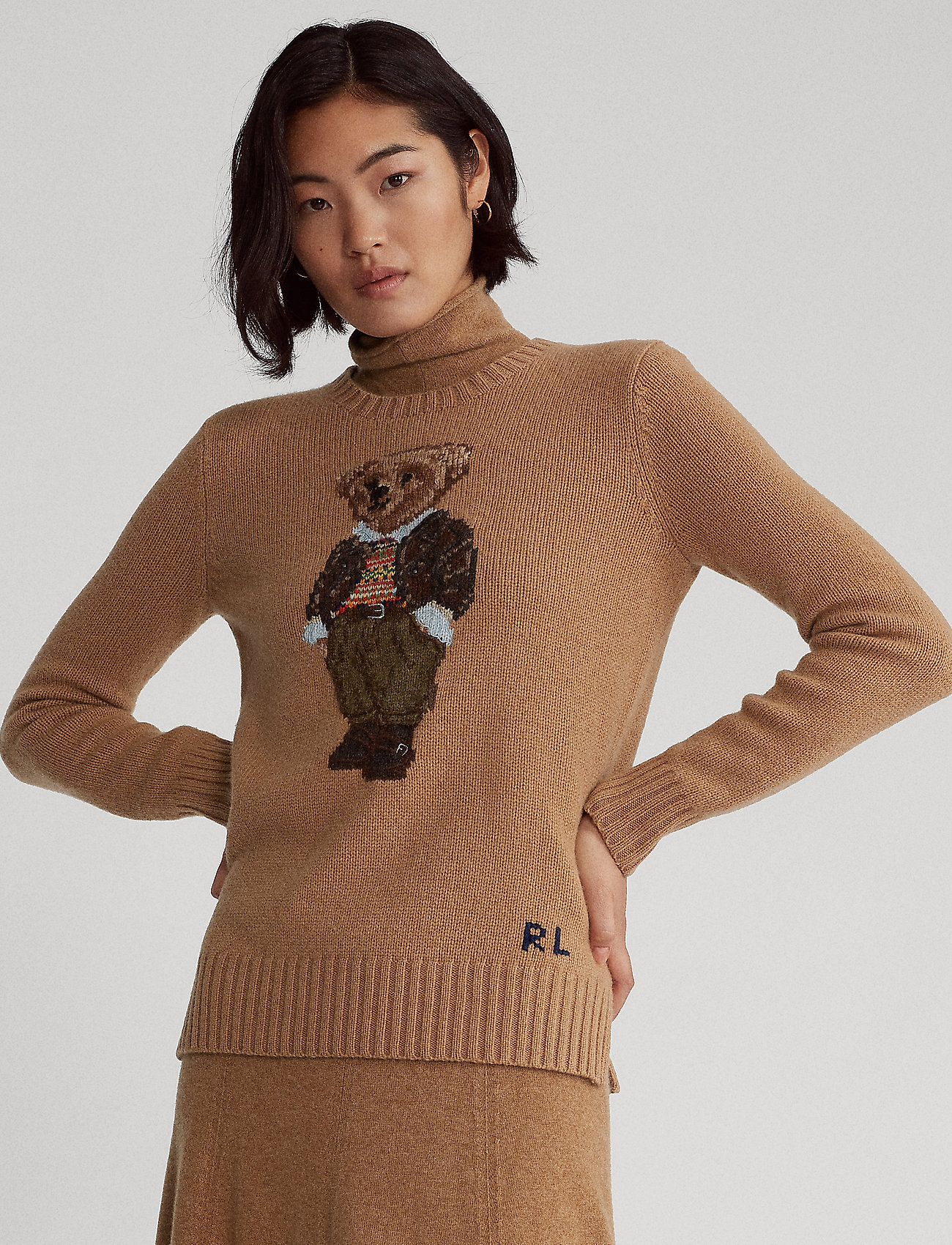 Polo Ralph Lauren - Polo Bear Wool-Blend Sweater - jumpers - camel melange mul - 0