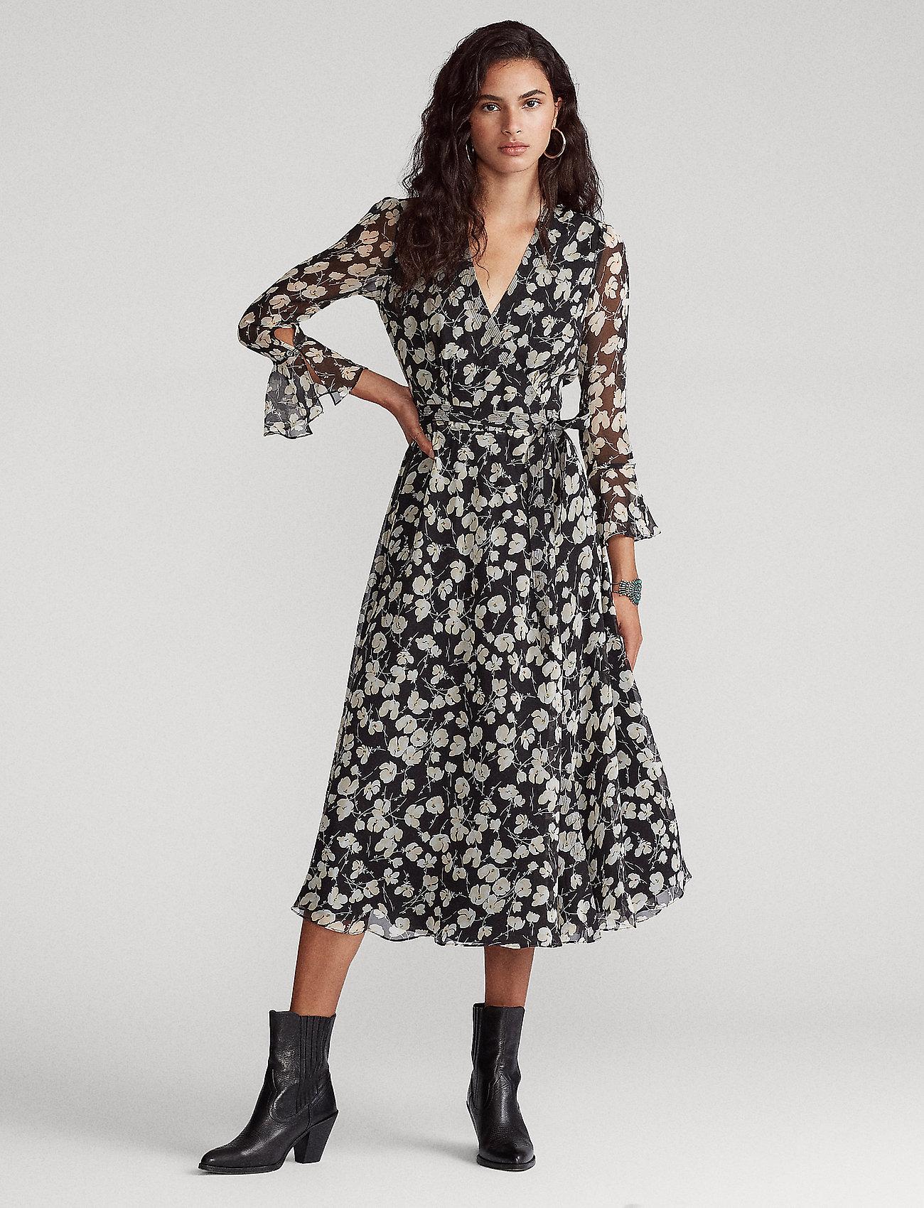 Polo Ralph Lauren - Floral Wrap Dress - everyday dresses - 766 black/white i - 0