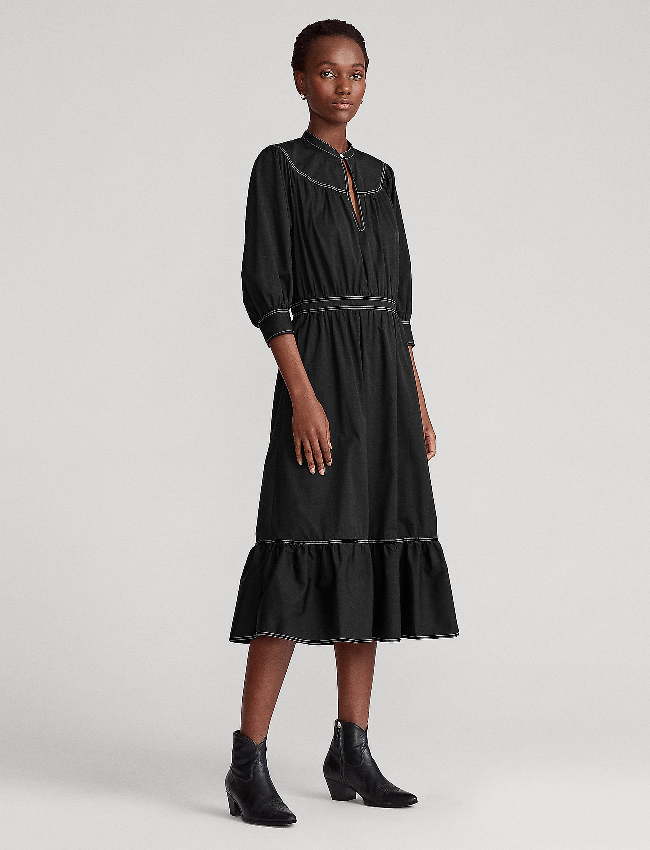 Polo Ralph Lauren - Cotton Broadcloth Dress - midi dresses - polo black - 0