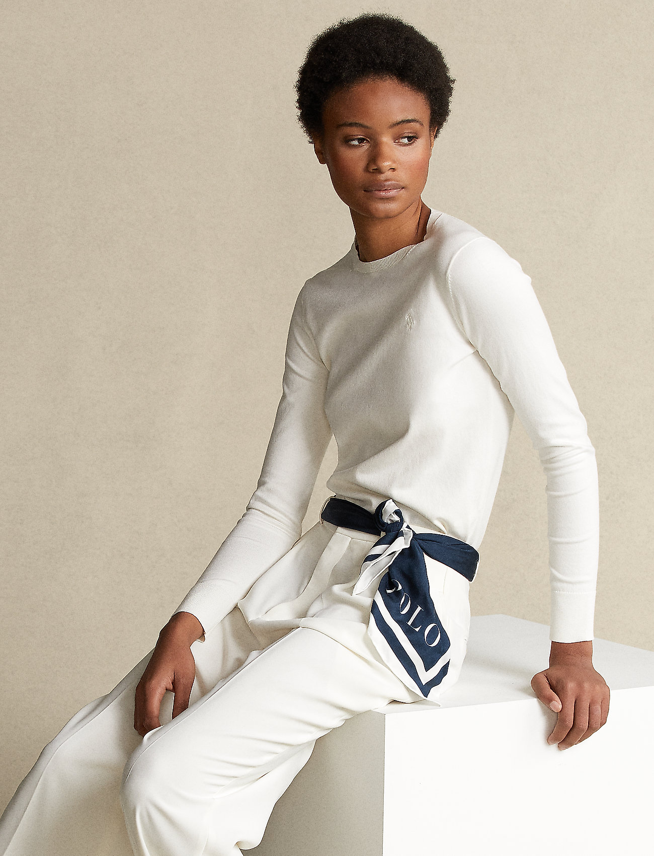 Polo Ralph Lauren - PIMA JSY STRETCH-LSL-SWT - jumpers - collection cream - 0