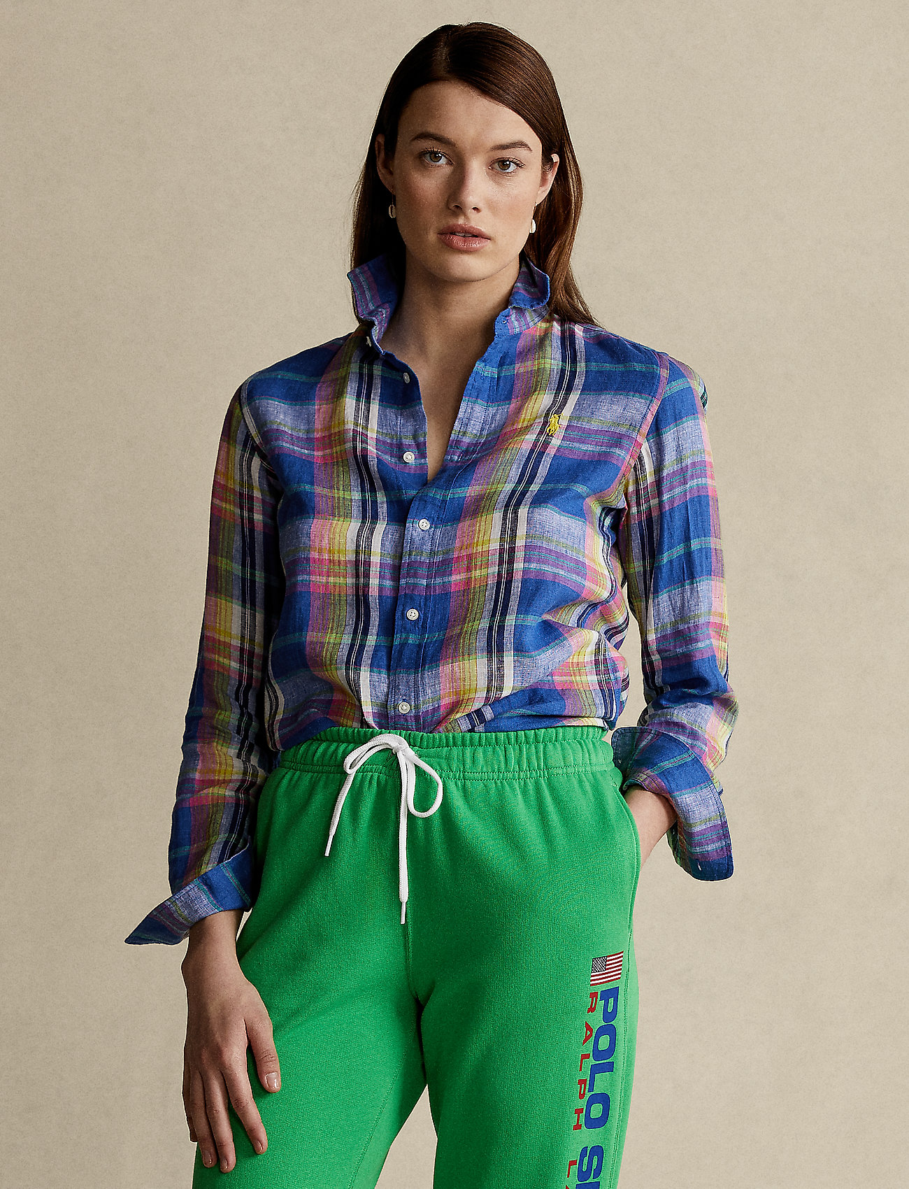 Polo Ralph Lauren - Classic Fit Plaid Linen Shirt - langærmede skjorter - 943 blue/pink - 0