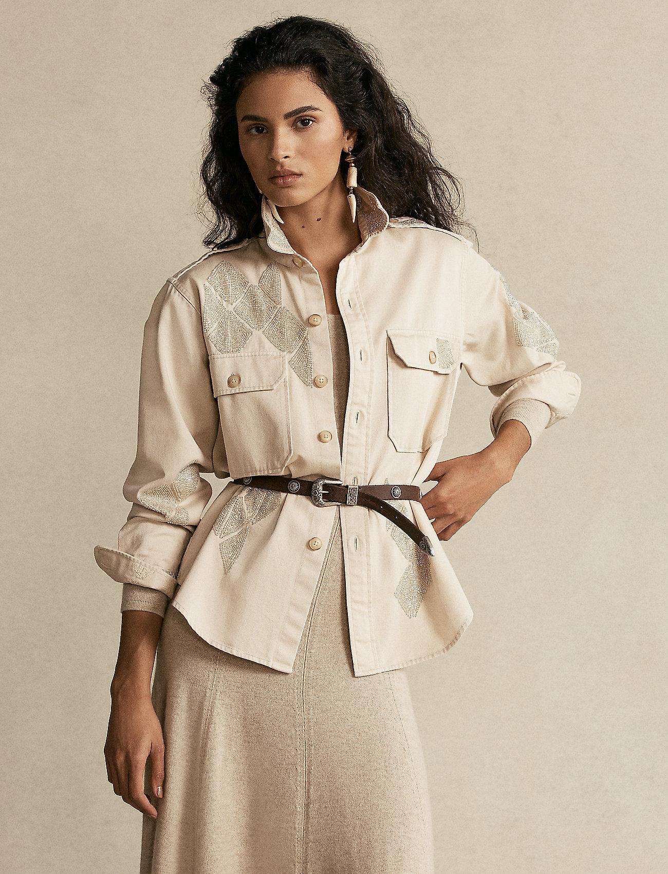 Polo Ralph Lauren - Beaded Cotton Twill Shirt - langærmede skjorter - english cream - 0