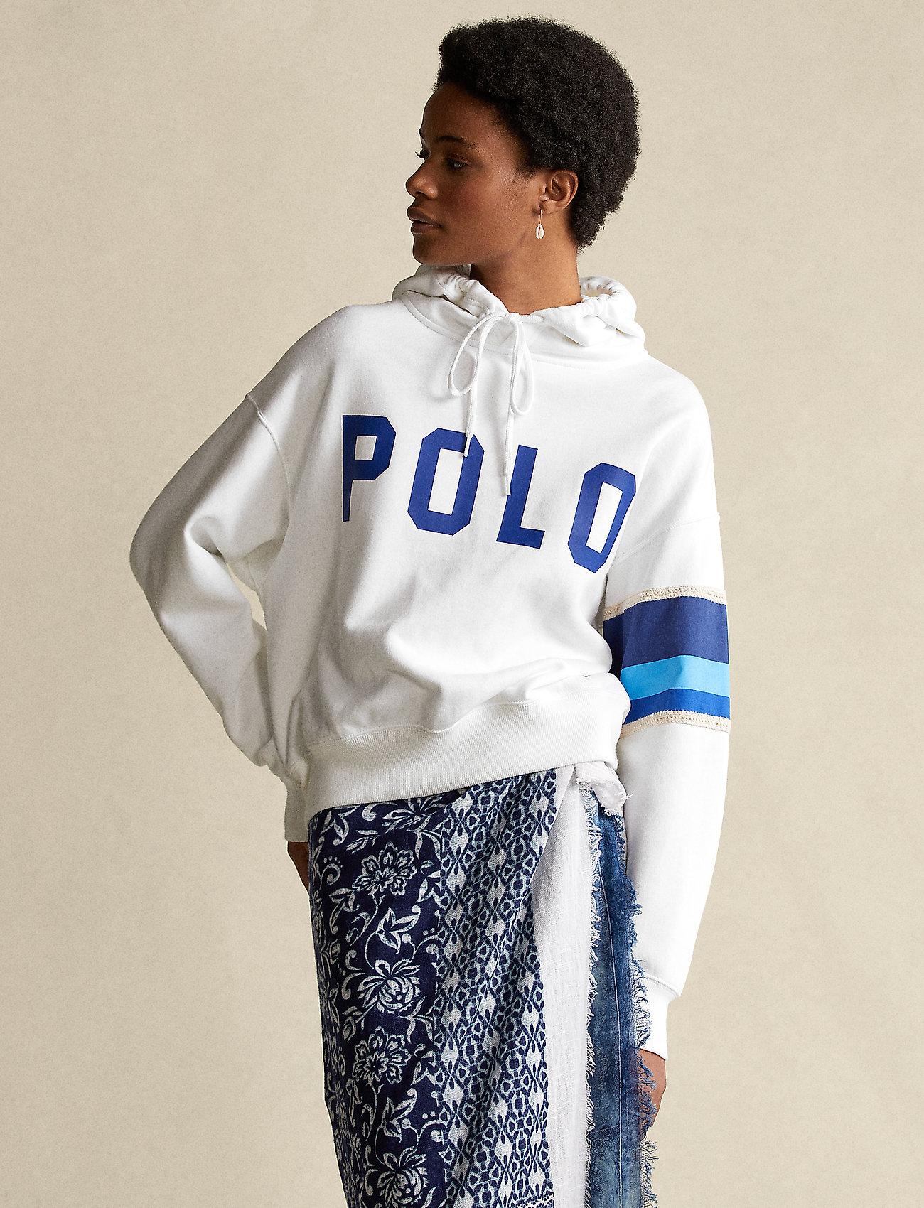 Polo Ralph Lauren - Striped-Trim Fleece Hoodie - hættetrøjer - white - 0