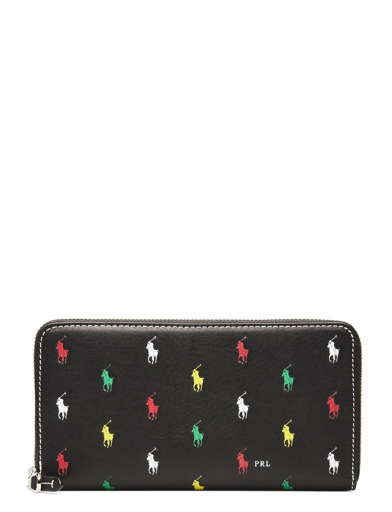 Polo Ralph Lauren Pony Leather Zip Wallet - BLACK MULTI
