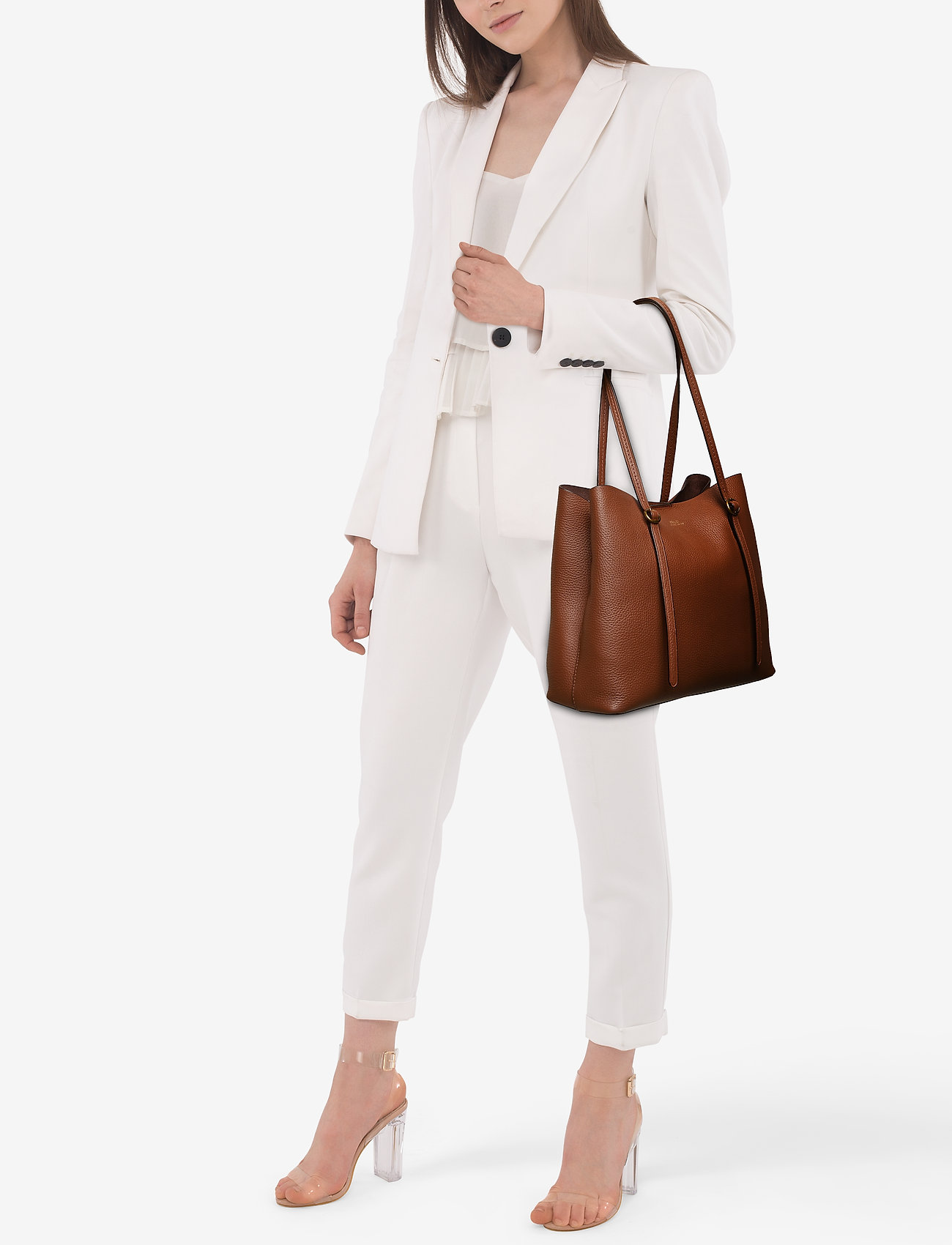 Polo Ralph Lauren Pebbled Leather Lennox Tote - SADDLE