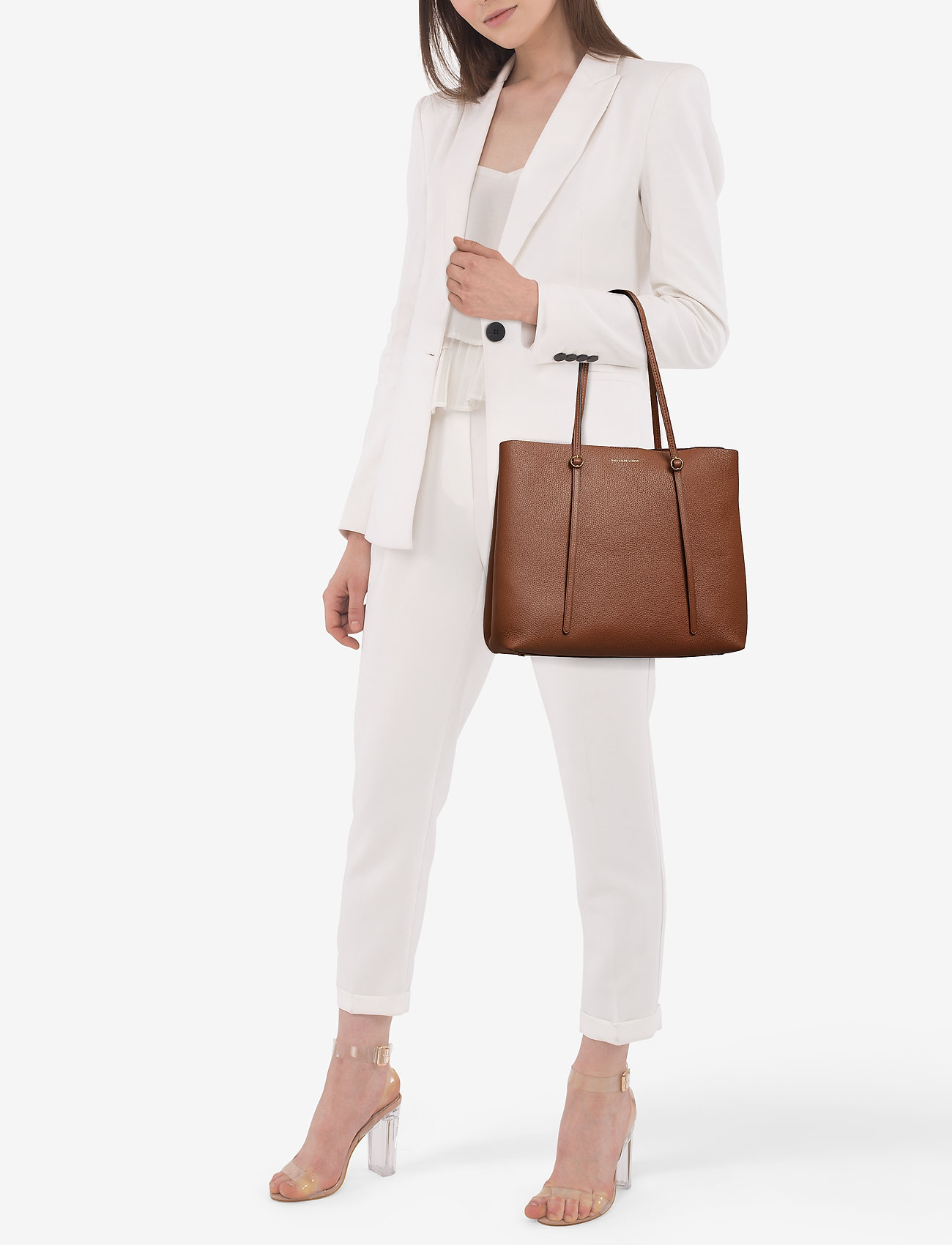 Polo Ralph Lauren Leather Large Lennox Tote - SADDLE