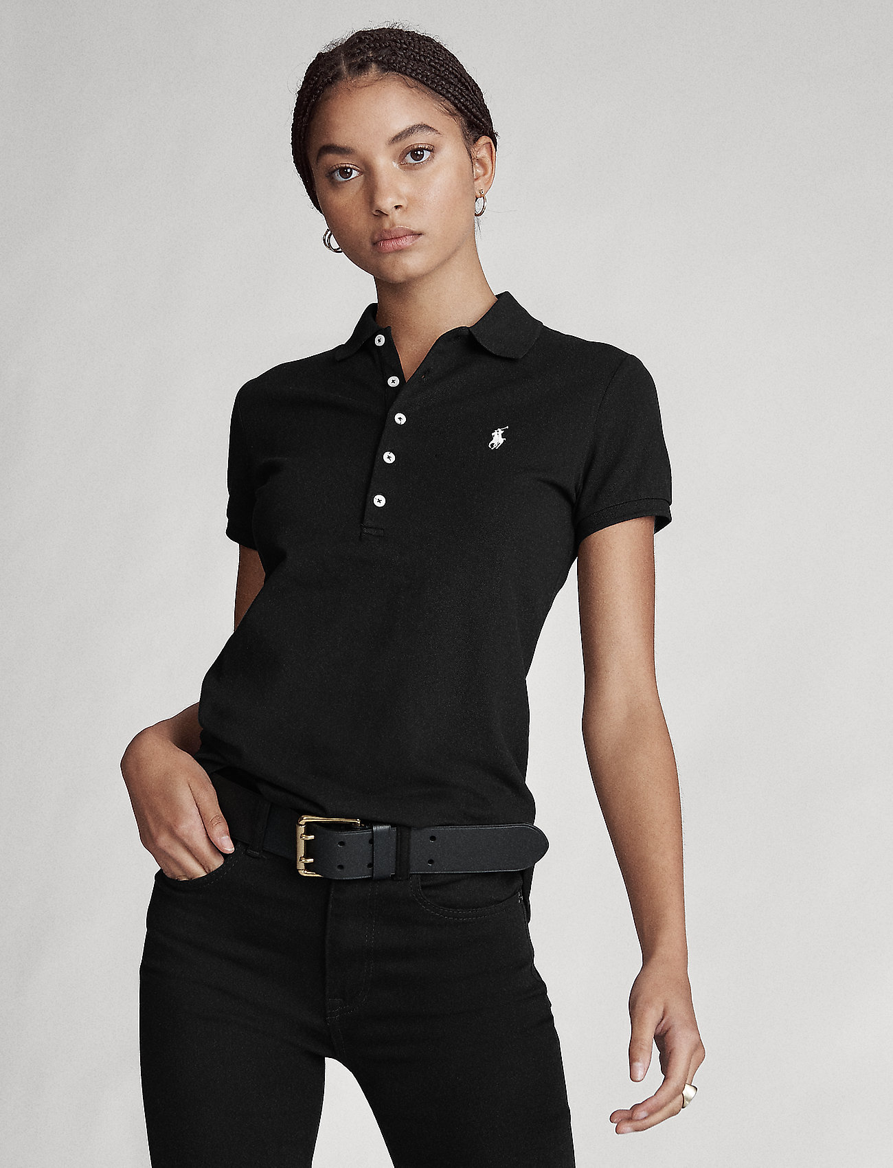 Polo Ralph Lauren - Slim Fit Polo Shirt - pikeepaidat - polo black/white - 0