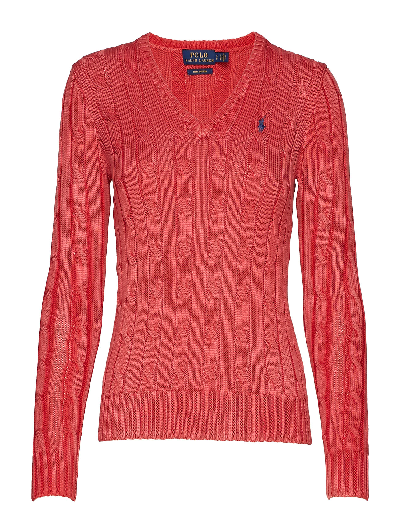 Polo Ralph Lauren Cotton V-Neck Cable Sweater - CORALLO