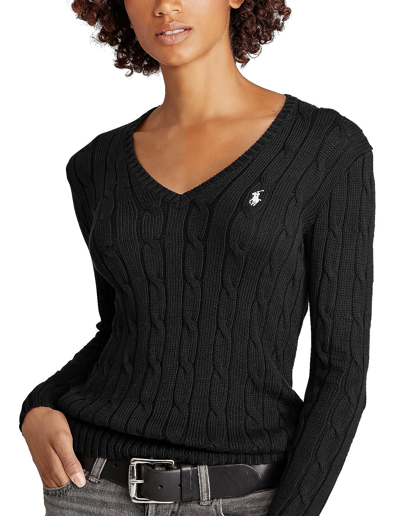 Polo Ralph Lauren - Cable-Knit V-Neck Sweater - trøjer - polo black/white - 0
