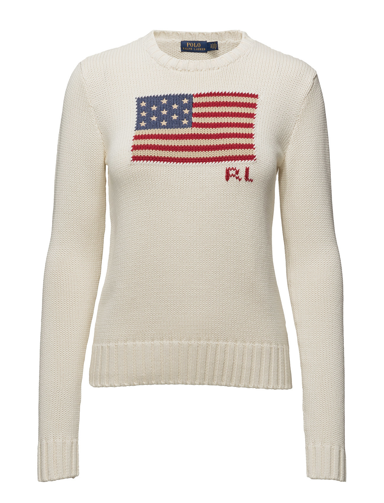 c077163eb26 Flag Cotton Crewneck Sweater (Cream Multi) (£129) - Polo Ralph ...