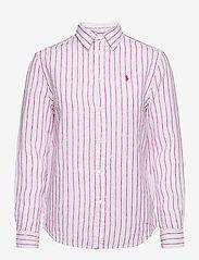 Polo Ralph Lauren - Relaxed Fit Linen Shirt - langærmede skjorter - 911 white/pink - 1