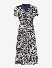 Polo Ralph Lauren - Floral Crepe Wrap Dress - sukienki do kolan i midi - navy floral - 0