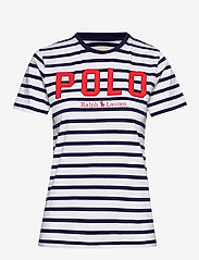 Polo Ralph Lauren - Striped Cotton Jersey Tee - logo t-shirts - white/cruise navy - 0
