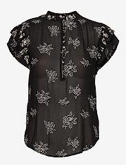 Polo Ralph Lauren - Rose-Print Crepe Blouse - short-sleeved blouses - black/white flora - 0