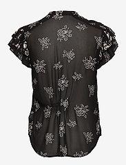 Polo Ralph Lauren - Rose-Print Crepe Blouse - short-sleeved blouses - black/white flora - 1