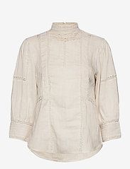 Polo Ralph Lauren - Lace-Trim Linen Blouse - long sleeved blouses - antique cream - 1
