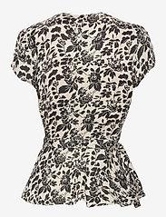 Polo Ralph Lauren - Floral Linen Wrap Blouse - short-sleeved blouses - 788 cream/black f - 2