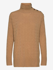 Buttoned-Placket Turtleneck - COLLECTION CAMEL