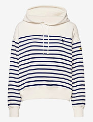 Polo Ralph Lauren - Striped Fleece Hoodie - hættetrøjer - deckwash white - 0