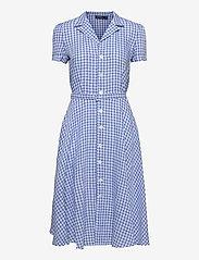Polo Ralph Lauren - Gingham Linen Shirtdress - sommerkjoler - 918 medium blue/ - 0