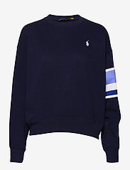 Polo Ralph Lauren - Striped-Trim Fleece Sweatshirt - sweatshirts - cruise navy - 1