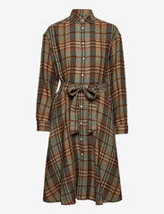 Polo Ralph Lauren - Plaid Wool Shirtdress - shirt dresses - 957 brown tan mul - 0