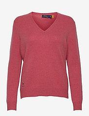 Wool-Blend V-Neck Sweater - RED SLATE HEATHER