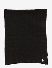 Polo Ralph Lauren - WOOL/CASHMERE-CABLE SCARF-OBS - huivit - polo black - 2
