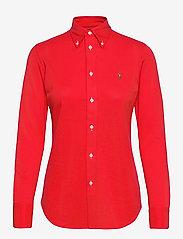 Polo Ralph Lauren - Knit Cotton Oxford Shirt - langærmede skjorter - bright hibiscus - 1
