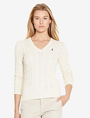 Polo Ralph Lauren - Cable-Knit V-Neck Sweater - jumpers - cream - 5
