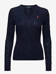 Cable-Knit V-Neck Sweater - HUNTER NAVY