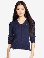 Polo Ralph Lauren - Cable-Knit V-Neck Sweater - trøjer - hunter navy - 5