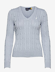 Cable-Knit V-Neck Sweater - PALE BLUE