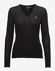Cable-Knit V-Neck Sweater - POLO BLACK/WHITE