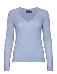 Cable Wool-Cashmere Sweater - LT BLUE HEATHER