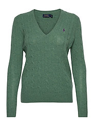 Cable Wool-Cashmere Sweater - RESORT GREEN HTHR