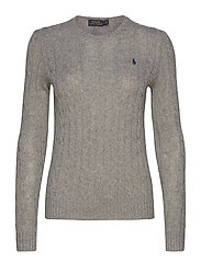 Cable Wool-Cashmere Sweater - FAWN GREY HEATHER