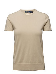 Cotton Short-Sleeve Sweater - TAN