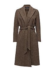 Tweed Open-Front Trench Coat - BROWN