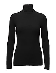 Ribbed Stretch Turtleneck - POLO BLACK