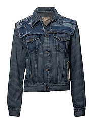 Patchwork Trucker Denim Jacket - MEDIUM INDIGO