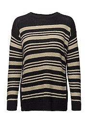 Striped Linen Sweater - BLACK/DARK CREAM
