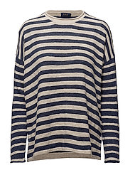 Cotton-Blend Striped Sweater - CREAM/BLUE