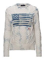 Indigo Flag Cotton Sweater - CREAM/INDIGO