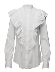 Broadcloth Ruffled Button-Down - WHITE
